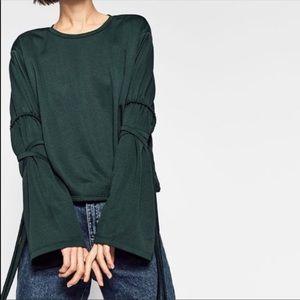 Zara trafaluc emerald green too with tie sleeves